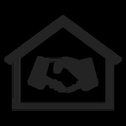 Casa com a mão tremendo ícone