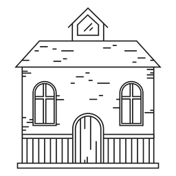 Casa com um ícone de linha do sótão