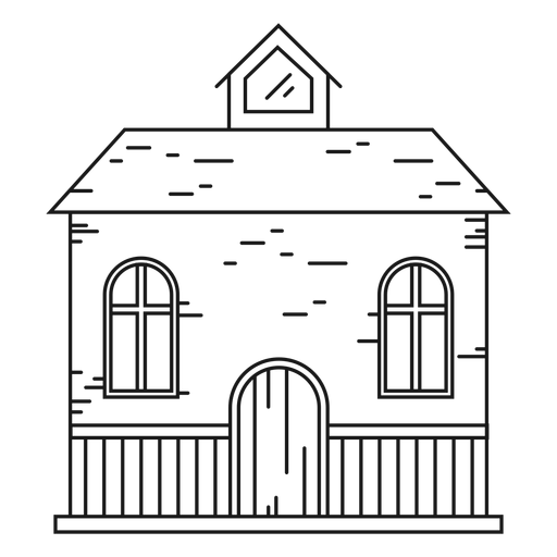 House with an attic line icon Transparent PNG