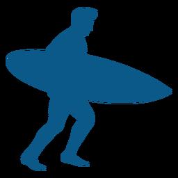 Silueta de surfista masculino