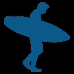 Hombre surfista caminando con tabla silhoutte