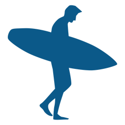 Surfista masculina andando segurando silhoutte de placa