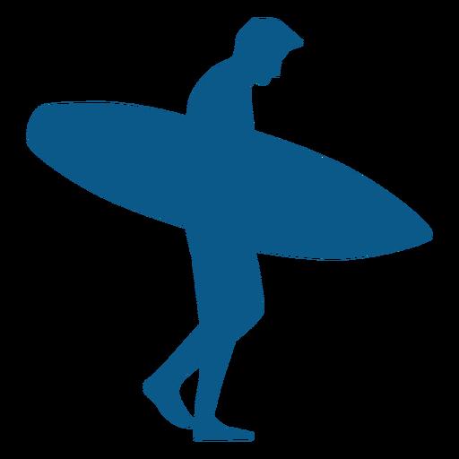 Hombre surfista caminando con tabla silhoutte Transparent PNG