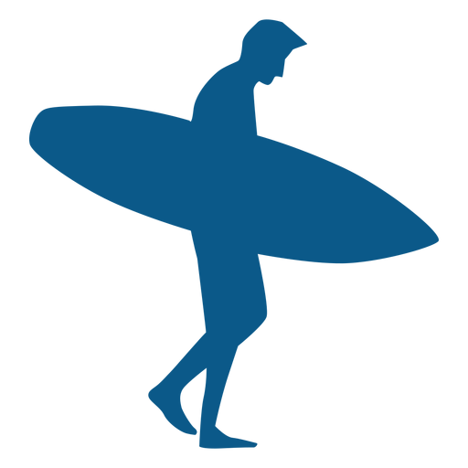 Male surfer walking holding board silhoutte Transparent PNG