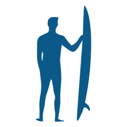 Männlicher Surfer mit Longboardschattenbild