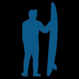 Male surfer with longboard silhouette
