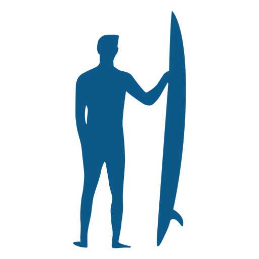 Male surfer with longboard silhouette Transparent PNG
