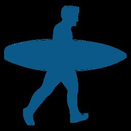 Homem, com, um, surfboard, silueta