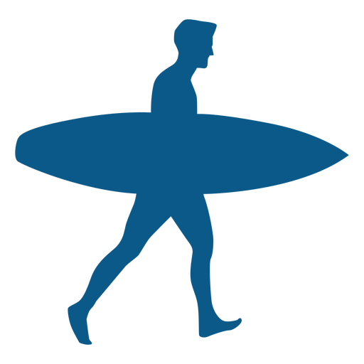 Man with a surfboard silhouette Transparent PNG