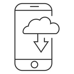 Ícone de download de nuvem móvel