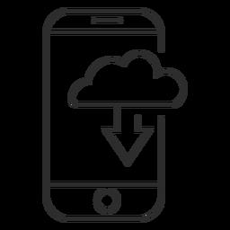 Icono de descarga de la nube móvil