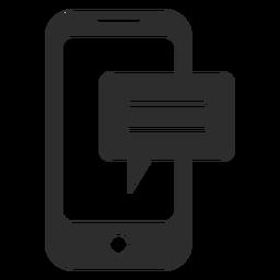 Icono de mensajería móvil en blanco y negro.
