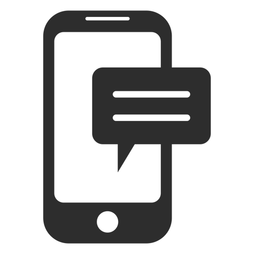 Mobile messaging black and white icon Transparent PNG