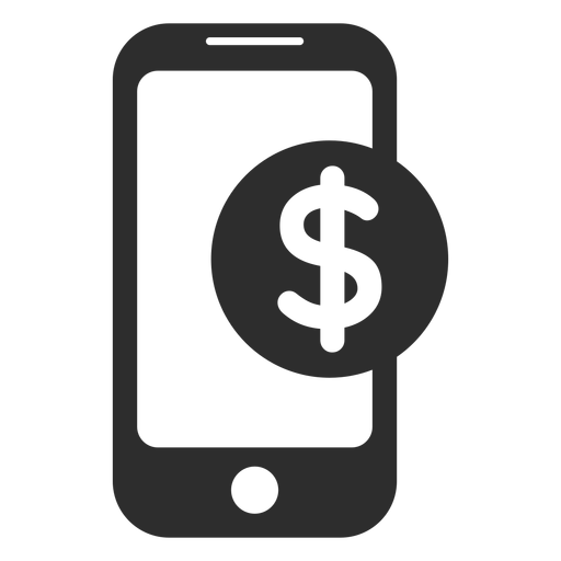 Mobile payment black and white icon Transparent PNG