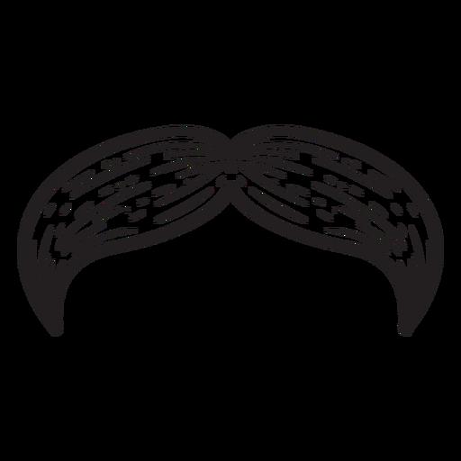 Natural moustache hand drawn icon