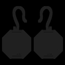 Pendientes octagonales icono negro