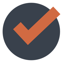 Orange check in a black circle icon