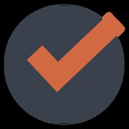 Orange check in a black circle icon