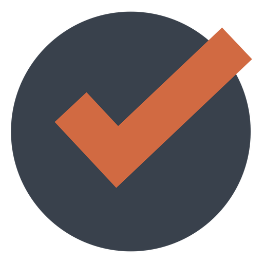 Orange check in a black circle icon Transparent PNG