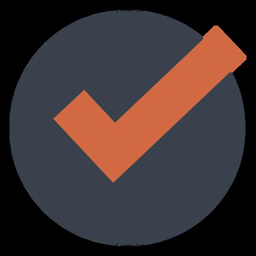 Verificación naranja en un icono de círculo negro Transparent PNG