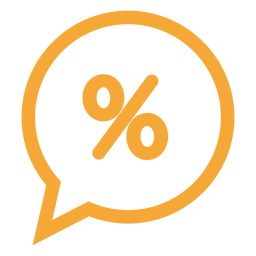Percent in a speech bubble icon
