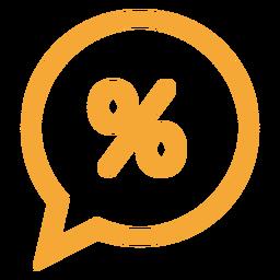Por cento em um ícone de bolha do discurso
