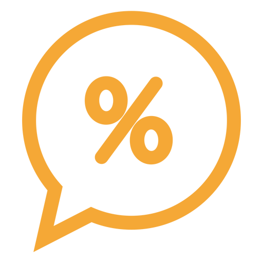 Porcentaje en un icono de burbuja de discurso