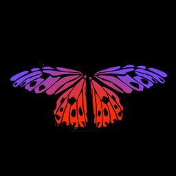 Design de borboleta roxa e laranja