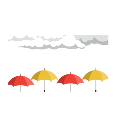Regenwolke und Regenschirmvektor