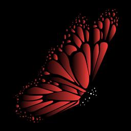 Vector de mariposa jardín rojo