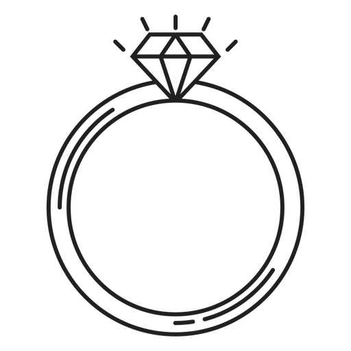 Simple diamond ring icon Transparent PNG