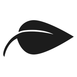 Icono de hoja negra simple y puntiaguda.
