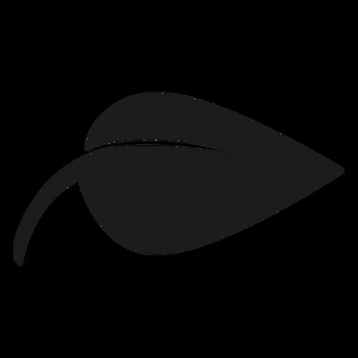 Icono de hoja negra simple y puntiaguda. Transparent PNG