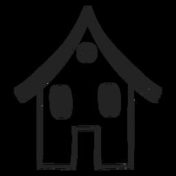 Pequeno, mão casa, desenhado, ícone