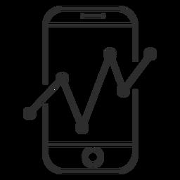 Smartphone con el icono de gráfico