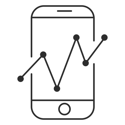 Smartphone with graph icon Transparent PNG
