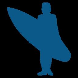 Em pé, macho, surfista, silueta
