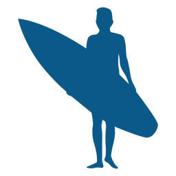 Standing up male surfer silhouette