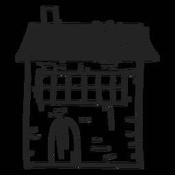 Icono dibujado mano de la casa de piedra