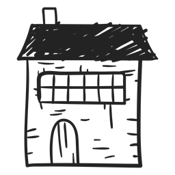 Stone house hand drawn icon