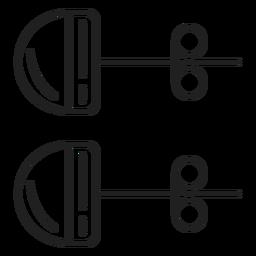 Stud pendientes icono blanco y negro
