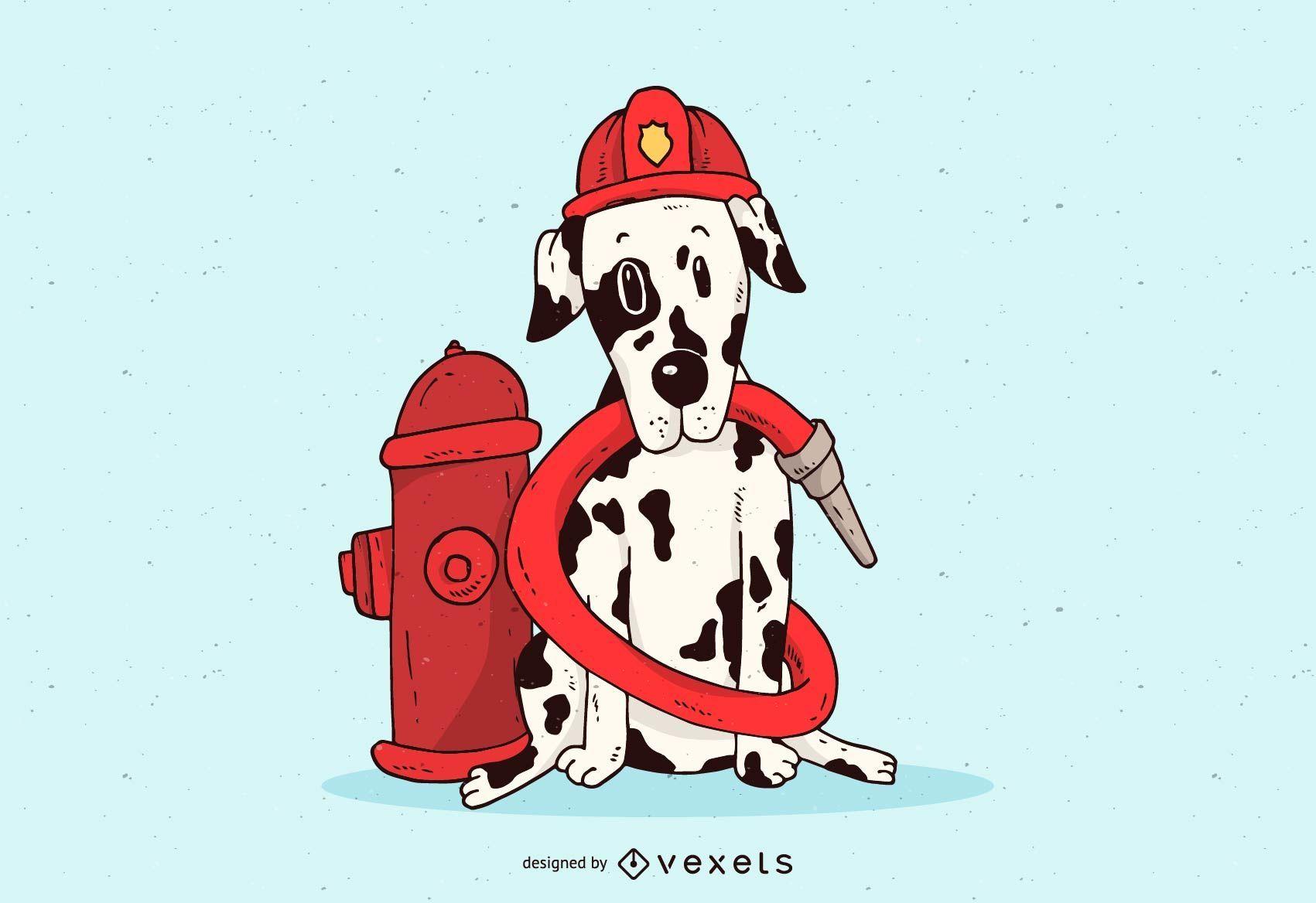 Dalmatian Firefighter Illustration