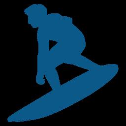 Surfista balanceándose a bordo de la silueta