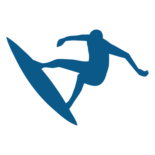 Surfing balancing position silhouette Transparent PNG