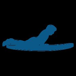 Silueta de posición de tabla de surf