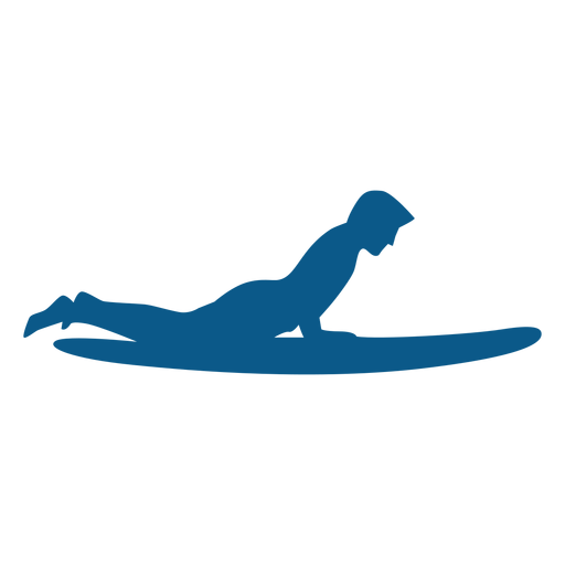 Surfing board position silhouette Transparent PNG