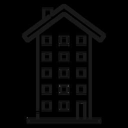 Ícone de linha fina de edifício alto