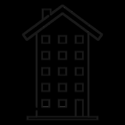 Icono de delgada línea de edificio alto Transparent PNG