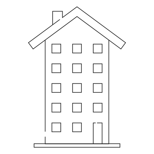 Tall building thin line icon Transparent PNG