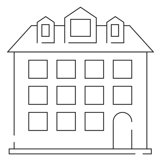 Tall house thin line icon Transparent PNG